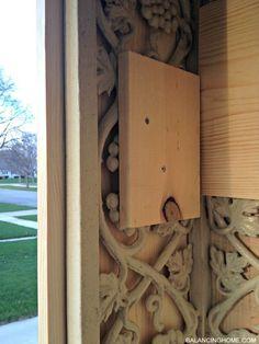 Porch Makeover Details - Balancing Home, cast iron, porch column, porch railing Porch Pillars, Front Porch Columns, Br House, House With Porch, Porch Column Wraps, Front Porch Posts, Front Entry, Porch Supports, Front Porch Makeover