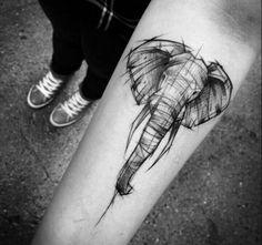 #elephant #tatouage #style crayon papier
