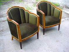 Art Deco Bergeres chairs in dark green velvet with wood accents