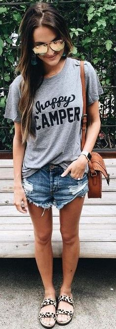 #summer #lovely #fashion | Graphic Grey Tee + Cut Offs