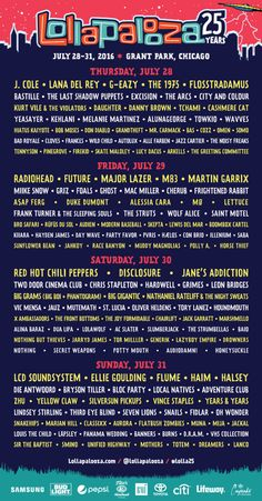 Lollapalooza 2016 Day By Lineup More Tickets