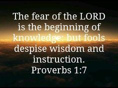 「Proverbs King James Version (KJV) The fear of the Lord is the beginning of knowledge: but fools despise wisdom and instruction. Proverbs 17 17, Book Of Proverbs, Audio Bible, Serve The Lord, Fear Of The Lord, Knowledge Quotes, Christian Quotes, Psalms, Favorite Quotes
