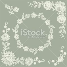 Lace Corners and frame Royalty Free Stock Vector Art Illustration