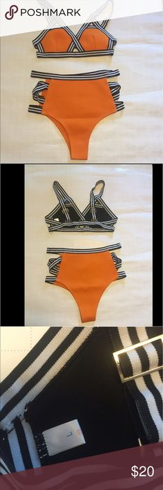 Bikini neoprene orange/black/white Sz L Neoprene bikini Sz L high waisted bottoms. Orange with black white striping . Sold by Zaful online from Hong Kong . CK reviews if you wish , Reminds me of Triangl but it's not 👙sold out in Large and 7-14 days shipping . I'll have it to you in 3-4 days 😀 Zaful Swim Bikinis