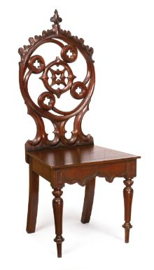A Gothic Revival Carved Mahogany Chair, circa 1860.