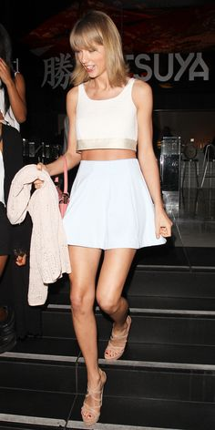 I love Taylor Swift's white 2 piece! 84 Reasons Why Taylor Swift Is a Street Style Pro - June 10, 2015  - from InStyle.com