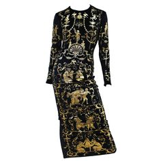 Iconic Vivienne Westwood 'Portrait Collection' Circa 1990 Gold Leaf Velvet Dress | From a collection of rare vintage evening dresses at https://www.1stdibs.com/fashion/clothing/evening-dresses/