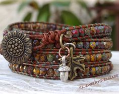 Browse unique items from AZJEWELRYBYELIZABETH on Etsy, a global marketplace of handmade, vintage and creative goods. Browse unique items from AZJEWELRYBYELIZABETH on Etsy, a global marketplace of handmade, vintage and creative goods. Leather Cord Bracelets, Beaded Wrap Bracelets, Leather Cuffs, Leather Jewelry, Rope Jewelry, Hippie Jewelry, Beaded Jewelry, Beaded Leather Wraps, Bijoux Diy