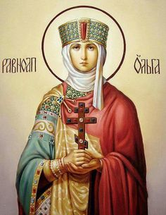 St. Olga of Kiev was a convert to Orthodox Christianity, she was the main influence on her grandson that resulted in his conversion to Christianity and that of his realm of Kievan Rus. She is considered, with her grandson, as having brought Orthodoxy to Russia.