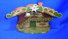 Vintage German Folk Art House with Deer Antler & Edelweiss Black Forest #I