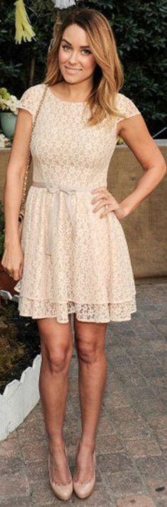 lauren conrad - cream lace dress, louboutin heels, chanel purse.