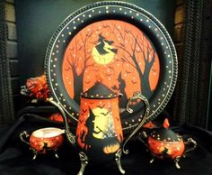 VINTAGE WITCHES & BLACK CATS SILVER PLATE TEA SET & TRAY HP by Peggy G