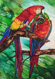 """""""Pair""""rots. In alcohol ink by me Laurie Henry. Copyright 2015."""