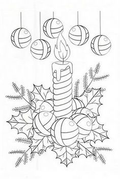 Christmas candles and Christmas ball coloring pages Christmas Coloring Pages, Coloring Book Pages, Coloring Sheets, Christmas Colors, Christmas Art, Xmas, Christmas Drawing, Christmas Templates, Christmas Embroidery