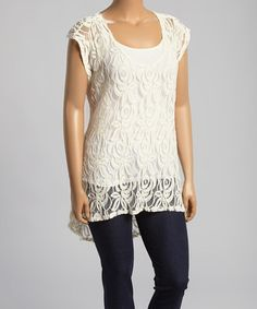 Another great find on #zulily! Ivory Sheer Lace Hi-Low Top - Plus by Loveappella #zulilyfinds