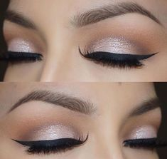 Soft cut crease + black winged eyeliner | glam neutral bridal eye makeup @veronicasmakeup