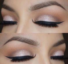 Soft cut crease + black winged eyeliner | glam neutral bridal eye makeup @veronicasmakeup