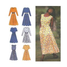 Women's Dress Sewing Pattern, Scoop, Round or Sweetheart Neckline Plus Size 20…