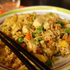 Riz frit au poulet {Chicken Fried Rice} | A table avec Julie