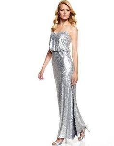 Aidan Mattox Silver Sequin Gown