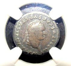 NGC F 4/5. 2.73 gr. Titus Dolphin and tripod Rare ancient roman coin Denarius.