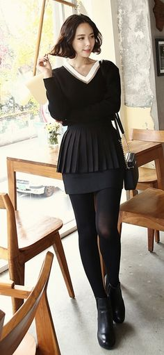 Peplum tiered skirt and simple chic sweater