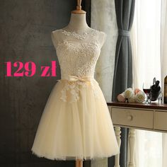 Champagne Patchwork Lace Tulle Dress Sleeveless Bow Round Neck Tutu Mini Dress Evening Dress Short B Evening Dresses For Weddings, Prom Dresses 2018, Dresses Short, Short Bridesmaid Dresses, Formal Dresses For Women, Prom Party Dresses, Party Gowns, Graduation Dresses, Mini Dresses
