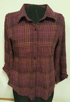 Christopher & Banks Women's Button Down Shirt 3/4 Sleeve Purple Medium M EUC #ChristopherBanks #ButtonDownShirt
