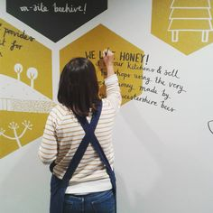 By Stephanie Cole, mural, wall painting, design, bees, lettering, type, illustration
