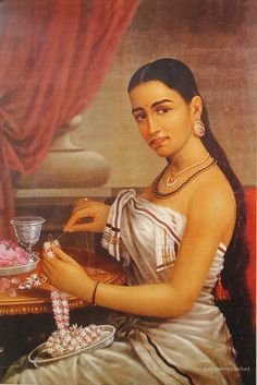 Raja Ravi Varma, Lady with the Jasmine flower garland. Kerala Painting