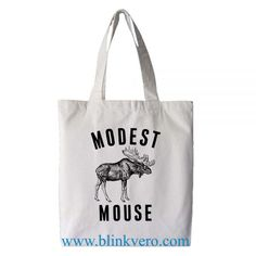 Modest Mouse Moose tote bag. Fashion bag featuring music band illustrations. 100% cotton shopping bag. Cotton tote bag.by blinkvero