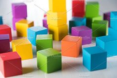 Colorful wood cube b