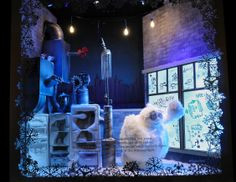 """Saks Fifth Avenue, New York, """"The Yeti Story."""" Photography: Courtesy of Saks Fifth Avenue, New York. (more: http://vmsd.com/content/holiday-windows-2014-1)"""