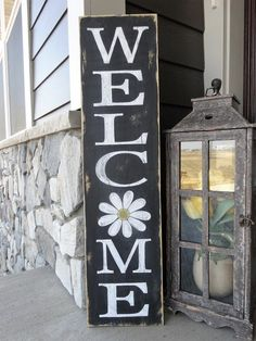 Welcome sign. Welcome wood sign/ Welcome front door sign/ Outdoor welcome sign/ Welcome home decor/ 1040 welcome sign/ Spring sign Outdoor Welcome Sign, Welcome Signs Front Door, Wooden Welcome Signs, Front Porch Signs, Diy Wood Signs, Outdoor Signs, Front Porches, Welcome Home Signs, Welcome Boards