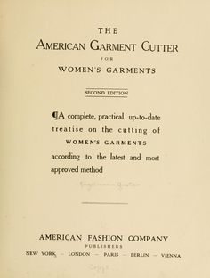 The American garment cutter for women's garments