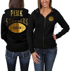 Victoria s Secret PINK Pittsburgh Steelers Ladies Bling Full Zip Hoodie -  Black 96fd30c92