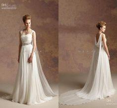 2015 elegantes vestidos de novia de playa de la gasa sencillas con desmontable Capa griega Diosa Vestidos de novia de novia acanalada Sashes Primavera barato WZ