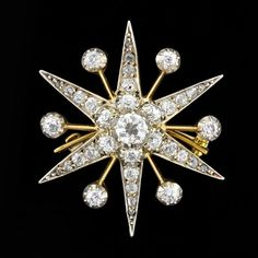 Edwardian 14kt/Plat. Diamond Starburst Pin/Pendant & Hair Comb 2.00ctw