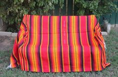 "Red Color Sarape Serape Mexican Blanket Saltillo Southwestern Afghan 84"" x 57"""