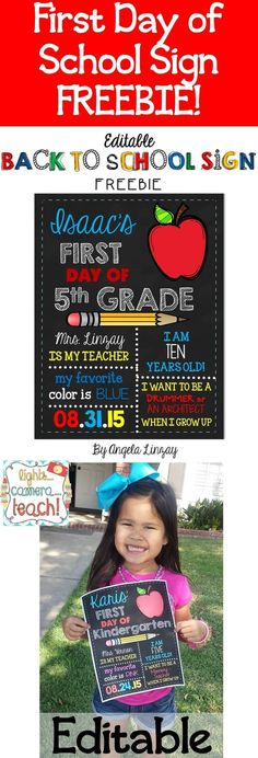 EDITABLE FREEBIE!!! Great First Day of School sign and a great way to record beginning of the year information!
