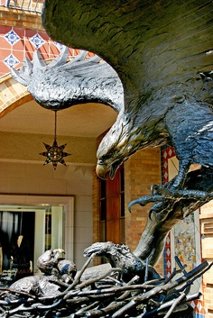 """This statue entitled """"The Invincible Spirit"""" sits on Kansas City's Country Club Plaza. right in front of one of my favorite chocolate stores! Kansas City Missouri, Missouri River, Kansas City Plaza, Cat City, Land Of Oz, Bald Eagle, Great Places, Chocolate Stores, Places To Visit"""