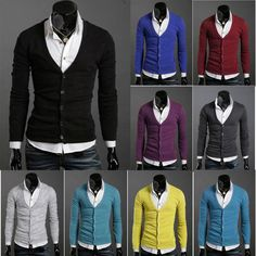 Gender: Men Pattern Type: pure Sleeve Style: Regular Style: Fashion Technics: Computer Knitted Material: Cotton Item Type: Cardigans Thickness: Thin Closure Type: Single Breasted Collar: V-Neck Sleeve