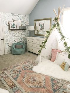 Little Girl Decor and Bedroom Reveal & Bless This Nest Big girl bedroom ideas. Wallpaper in girl& room The post Little Girl Decor and Bedroom Reveal appeared first on Trendy. Big Girl Bedrooms, Little Girl Rooms, Kids Bedroom Girls, Girl Toddler Bedroom, Childrens Bedrooms Girls, Baby Bedroom, Gurls Bedroom Ideas, Blue Bedroom Ideas For Girls, Colorful Girls Room