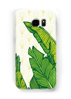Hand-drawn banana leaves, turn into vector illustration on vintage pattern background. From ink pen hand drawing by DesigndN. Inspired by my granny's living room. • Also buy this artwork on phone cases, apparel, stickers, and more.