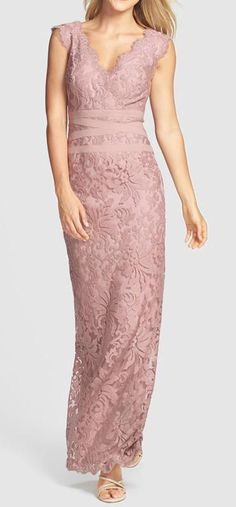 Nordstrom  Tadashi Shoji Embroidered Lace Column Gown. I don't love the color but I love the dress