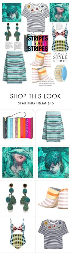 """""""Pattern Challenge: Stripes on Stripes"""" by mdfletch ❤ liked on Polyvore featuring Sophie Hulme, M Missoni, Lizzie Fortunato, Pollini, Mara Hoffman, Miu Miu, stripesonstripes and PatternChallenge"""