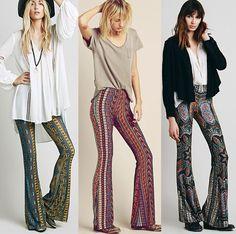 Boho Hippie High Waist Wide Leg Long Flared Bell Bottom Pants S M L XL AU | Clothing, Shoes, Accessories, Women's Clothing, Pants | eBay!