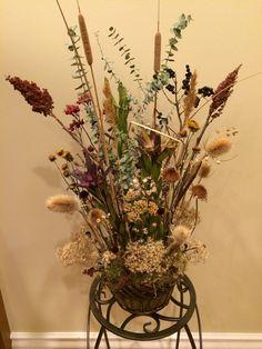 Modern dried arrangement. Local flora.