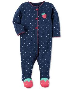 Carter's 1-Pc. Dot-Print Strawberry Footed Coverall, Baby Girls (0-24 months)   macys.com