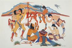 Color painting of several Natives performing the Choctaw Sick Dance around a pole structure. Choctaw Indian, Native Indian, Native Art, Native American Artists, Native American Indians, Native Americans, Choctaw Nation, Native American Spirituality, Modern Indian Art